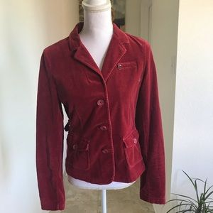 American Eagle red velvet blazer
